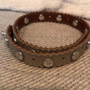 Tory Burch double wrap logo stud bracelet.